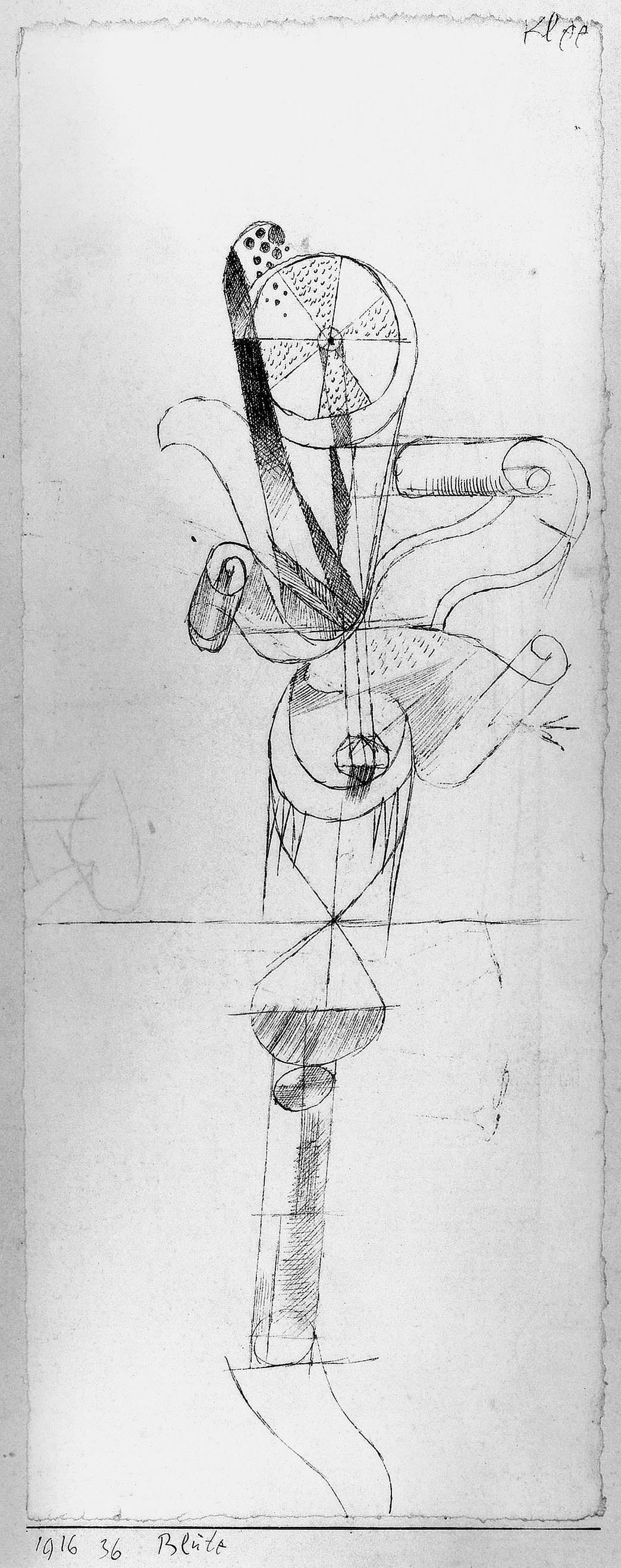 Abb.48  Paul Klee, Blüte, 1916, 36 , Feder auf Papier auf Karton , 24 x 9,4 cm, Privatbesitz, Schweiz © Zentrum Paul Klee, Bern, Archiv