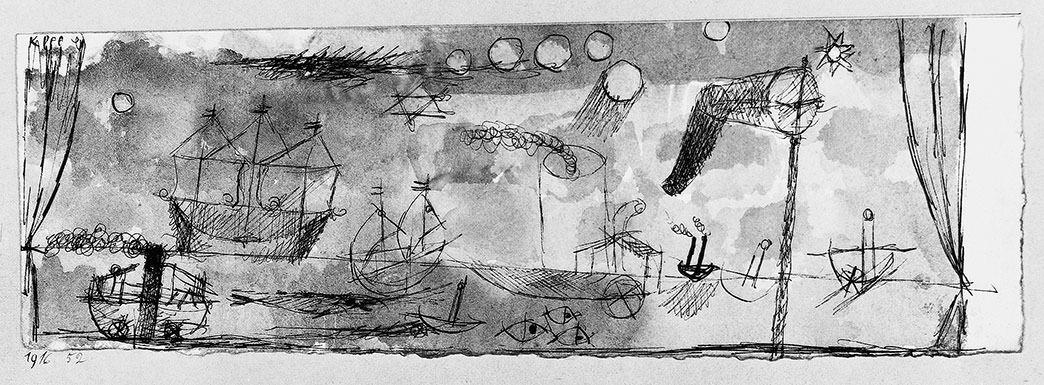 Abb.58 Paul Klee, Marine mit dem Windmesser, 1916, 52 , Aquarell und Feder auf Papier auf Karton, 8 x 24 cm , Privatbesitz, Grossbritannien © Zentrum Paul Klee, Bern, Archiv
