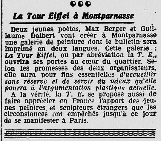 Abb. 3 Anonym, »La Tour Eiffel à Montparnasse«, in : Les Nouvelles littéraires, artistiques et scientifiques : hebdomadaire d'information, de critique et de bibliographie, 7. 6. 1924, S. 2
