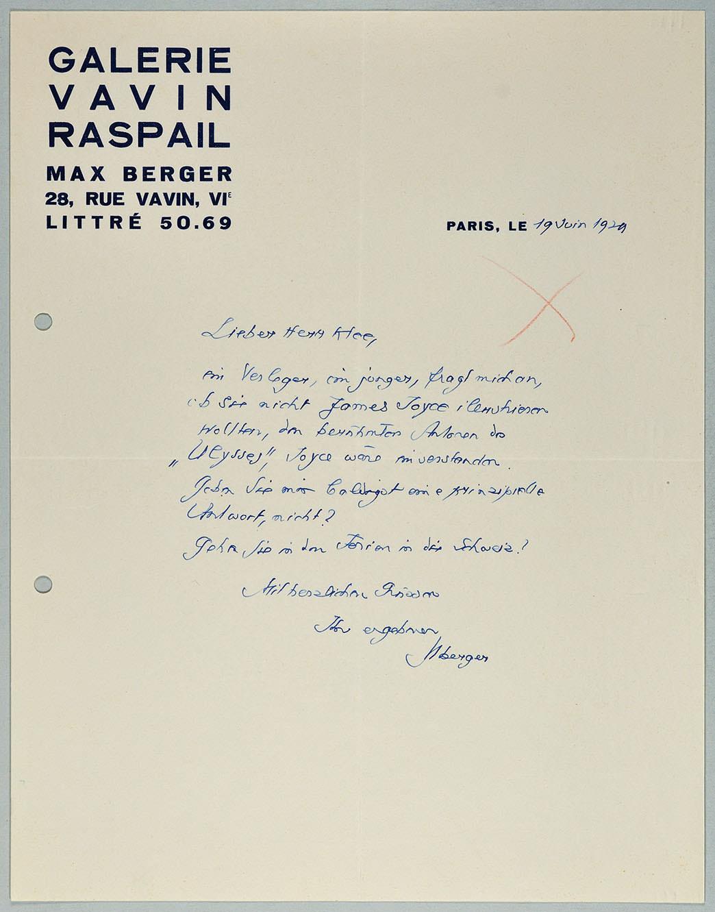 Abb. 7 Brief von der Galerie Vavin Raspail (Max Eichenberger) an Paul Klee, 19.06.1929 Zentrum Paul Klee, Bern, Schenkung Familie Klee  © Zentrum Paul Klee, Bern