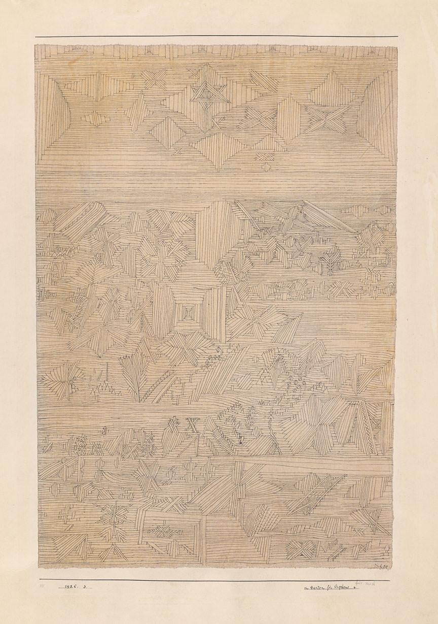 Abb. 5 Paul Klee  ein Garten für Orpheus , 1926, 3, Feder und Aquarell auf Papier auf Karton, 47 x 32/32,5 cm, Zentrum Paul Klee ©Zentrum Paul Klee, Bern, Bildarchiv