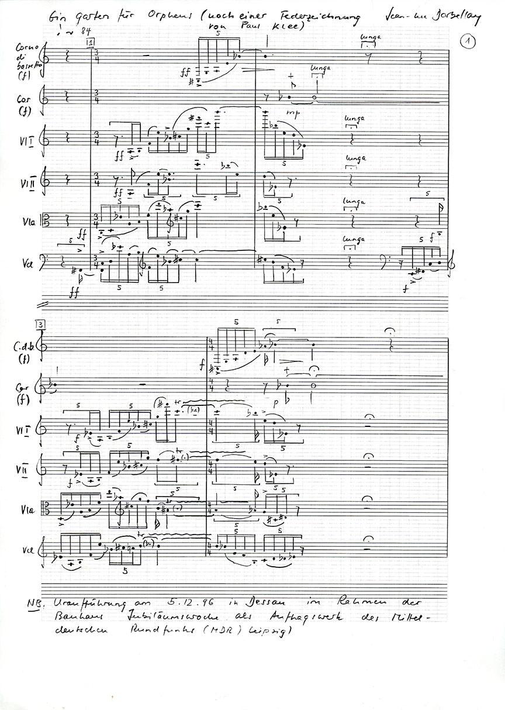 Abb. 6 Jean-Luc Darbellay, Ein Garten für Orpheus für Bassetthorn, Horn und Streichquartett, 1996 ©Jean-Luc Darbellay, Bern