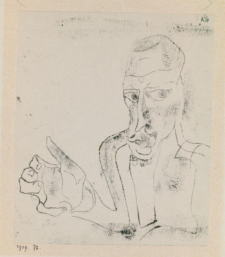 Abb. 3 Paul Klee  Abwägender Künstler,  1919, 73, Ölpause auf Papier auf Karton, 19,7 x 16,6 cm, Zentrum Paul Klee, Bern, Schenkung Livia Klee © Zentrum Paul Klee, Bern, Bildarchiv