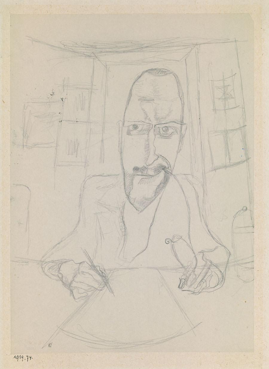 Abb. 4 Paul Klee  Formender Künstler , 1919, 74, Bleistift auf Papier auf Karton, 27,2 x 19,5 cm, Zentrum Paul Klee, Pern, Schenkung Livia Klee  © Zentrum Paul Klee, Bern, Bildarchiv