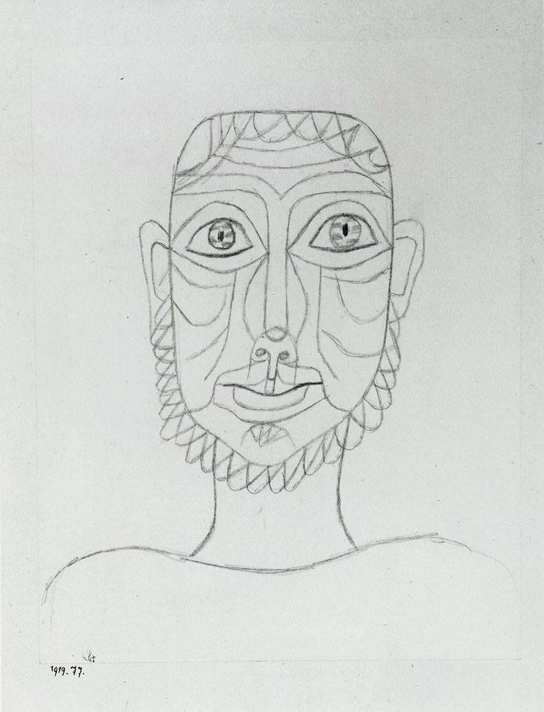 Abb.8  Maske , 1919, 77, Bleistift auf Papier auf Karton, 22,5 x 17,8 cm, Morton G. Neumann Family Collection, Chicago ©Zentrum Paul Klee, Bern, Archiv