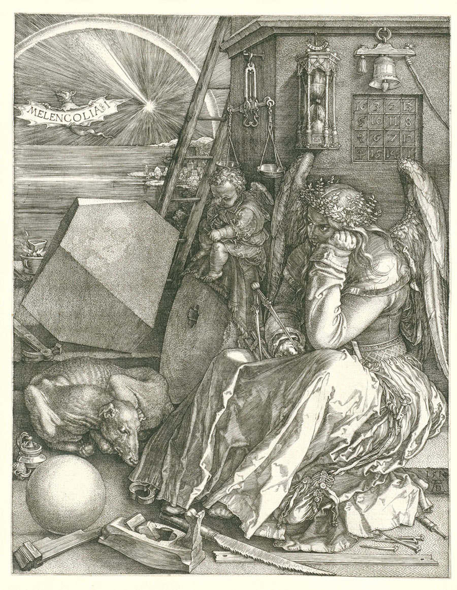 Abb. 11 Albrecht Dürer  Melancolia I , 1514, Radierung, 23,9 x 18,5 cm, Rijksmuseum © Public domain