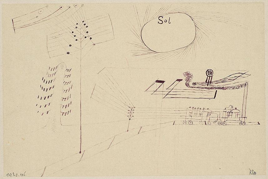 """Abb. 16 Paul Klee   """"Sol"""" (mit dem Eisenbahnzügle) , 1920,106, Feder auf Papier auf Karton, 18,6 x 28,3 cm, National Gallery of Canada, Ottawa ©National Gallery of Canada, Ottawa"""