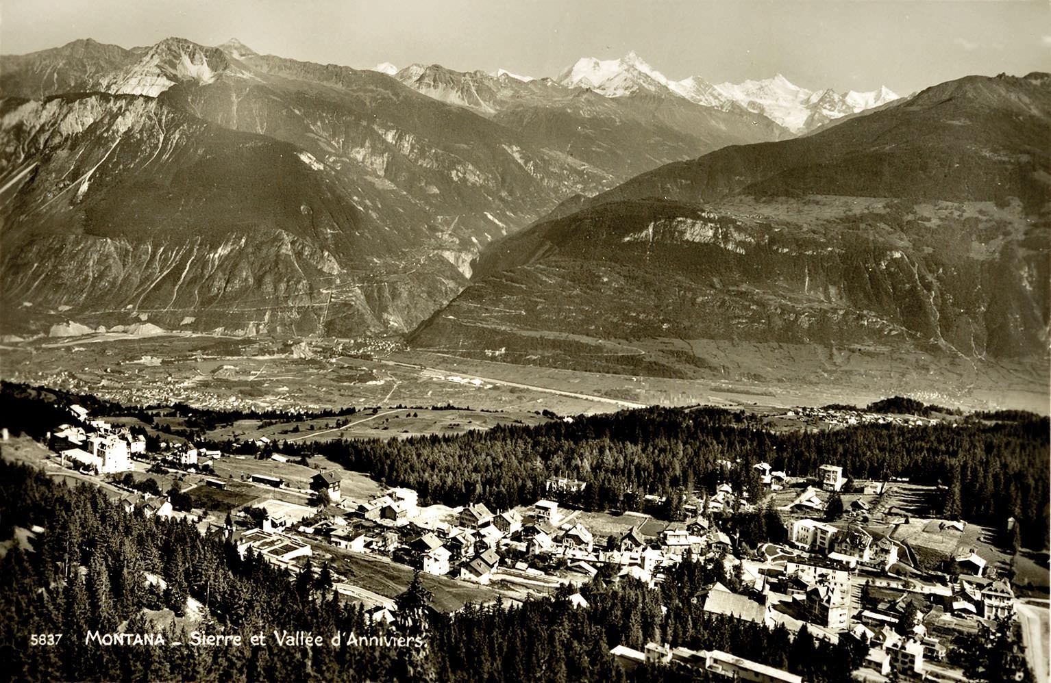 Abb. 9  Blick von Montana auf Sierre und das Val d'Annivier , Ansichtskarte, c.a.1936, Zentrum Paul Klee, Bern, Schenkung Familie Klee © Zentrum Paul Klee, Bern, Bildarchiv
