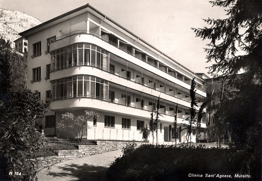 Abb.17  Clinica Santa Agnese des tessiner Architekten Bruno Brunoni, Locarno-Muralto , aus Südwesten, 1938, Postkarte, Fotograf: E. Steinemann ©Küsnacht: Privatbesitz