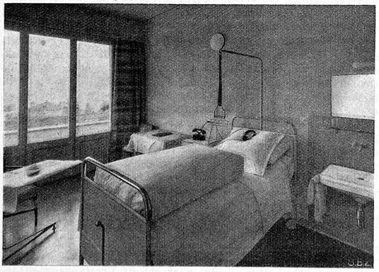 Abb.18  Krankenzimmer in der Klinik S. Agnese, Muralto , 1938, Fotograf: E. Steinemann, in: Schweizerische Bauzeitung 111/112 (1938), S.16, Abb. 7