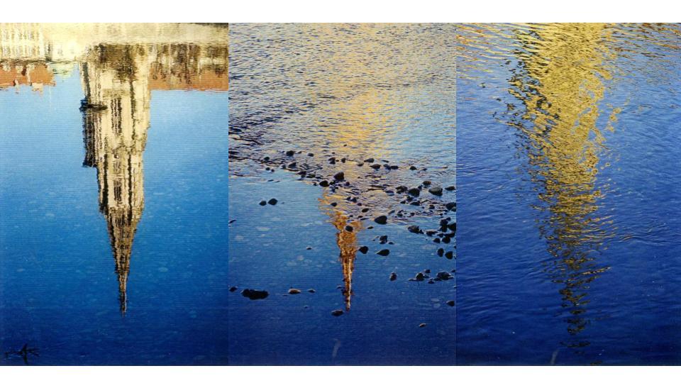 Abb.10 Berner Münsterturm auf dem Wasserspiegel der Aare, »Abstraktion in der Natur«, Foto: Jean-Luc Darbellay, o. J. ©JLD