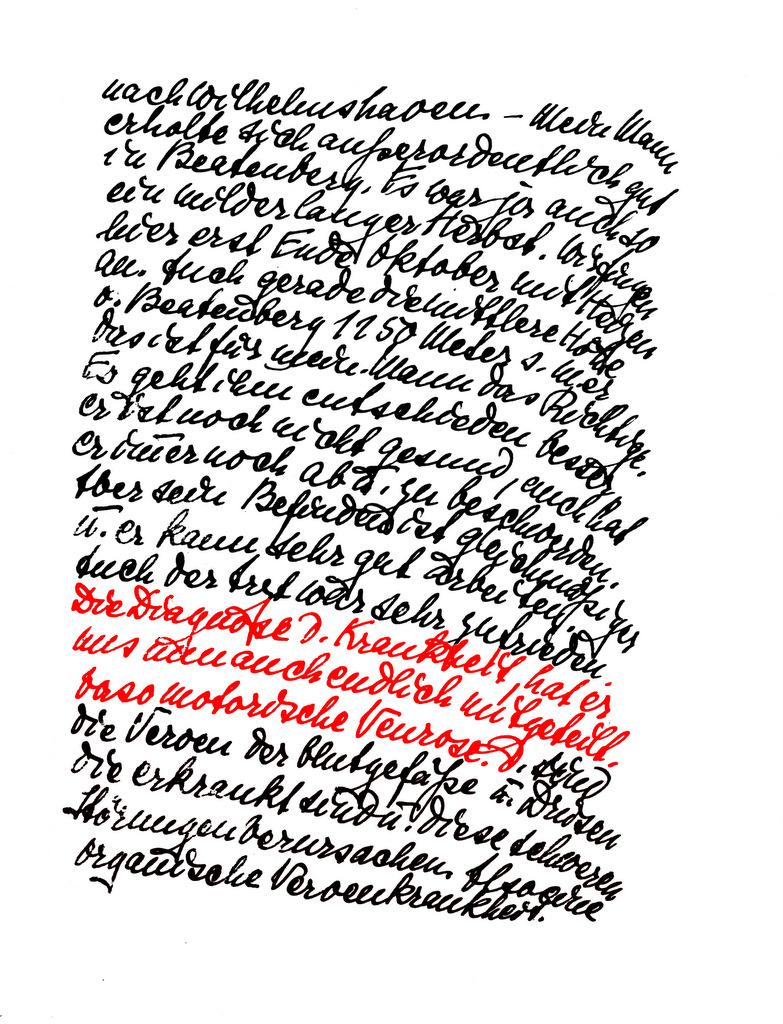 Abb. 13  Brief von Lily Klee an Gertrud Grote, 17.12.1938 mit Diagnose (rot markiert).  © Zentrum Paul Klee, Bern, Archiv.