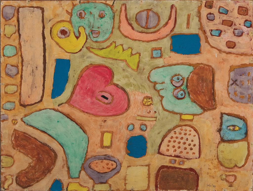 Abb. 16  Paul Klee, das kranke Herz 1939, 382 (A2), pastose Wasserfarben (mit Kleister gebunden) Pappe; Tafel, Kleisterfarbe auf Karton auf Keilrahmen genagelt, 40,7 x 54 cm, Signiert unten rechts, Signatur von Klee nachgezogen: »Klee«, Moeller Fine Art, New York  © Moeller Fine Art, New York.