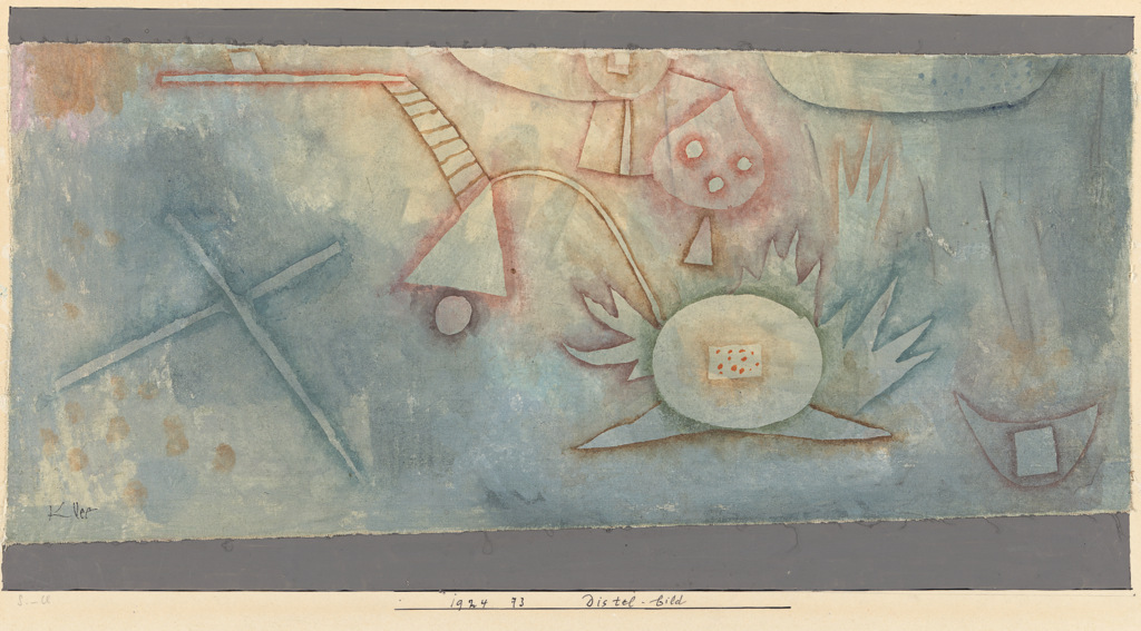 Fig. 1    Paul Klee,  Distel-bild , 1924, 73 [Thistle-painting] , gouache on canvas on paper on cardboard, 18/16,5 cm x 40,6 cm, ©National Gallery of Victoria, Melbourne, Inv.Nr. 2999-4.