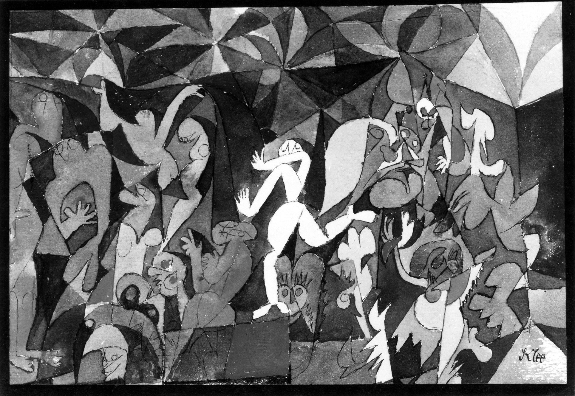 fig. 6 Paul Klee,  bunte Menschen  [Colourful People], 1914, 52, Aquarell auf Papier, 13.8 x 20.4 cm, Location unknown, Photo by Adolf Studly (?), ©Zentrum Paul Klee, Bern, Bildarchiv