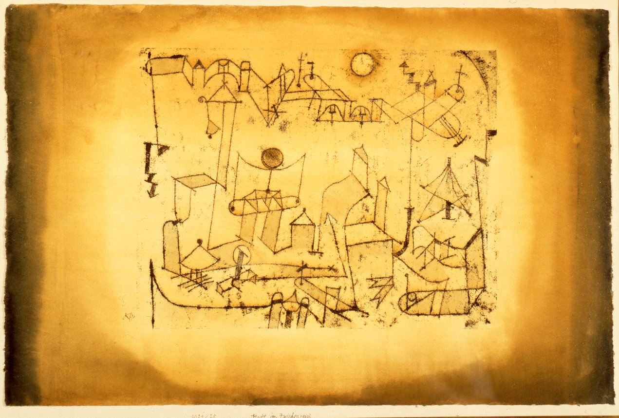 fig. 8 Paul Klee,  Stadt im Zwischenreich  [City in the Intermediate Realm], 1921, 25, oil transfer drawing and watercolour on paper on cardboard, 31,3 x 48 cm, Columbus Museum of Art, Sirak Collection, © Columbus Museum of Art