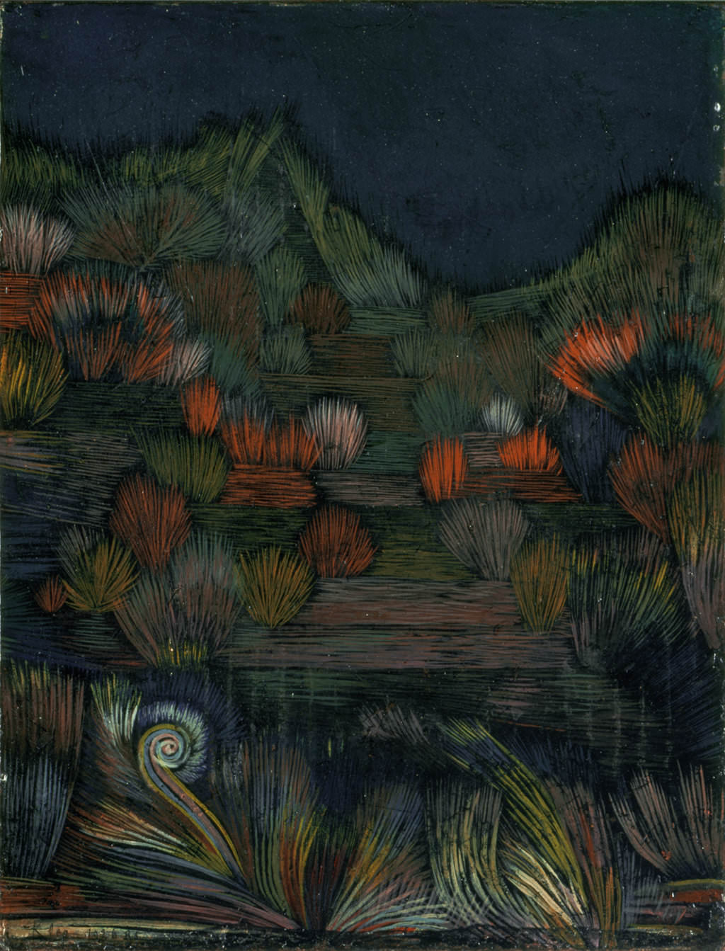 fig. 13 Paul Klee,  kl. Dünenbild  [Small Dune Picture], 1926, 115, Ölfarbe auf Grundierung auf Karton; originale Rahmenleisten, 32,4 x 23,2 cm, The Menil Collection, Houston, © The Menil Collection, Houston
