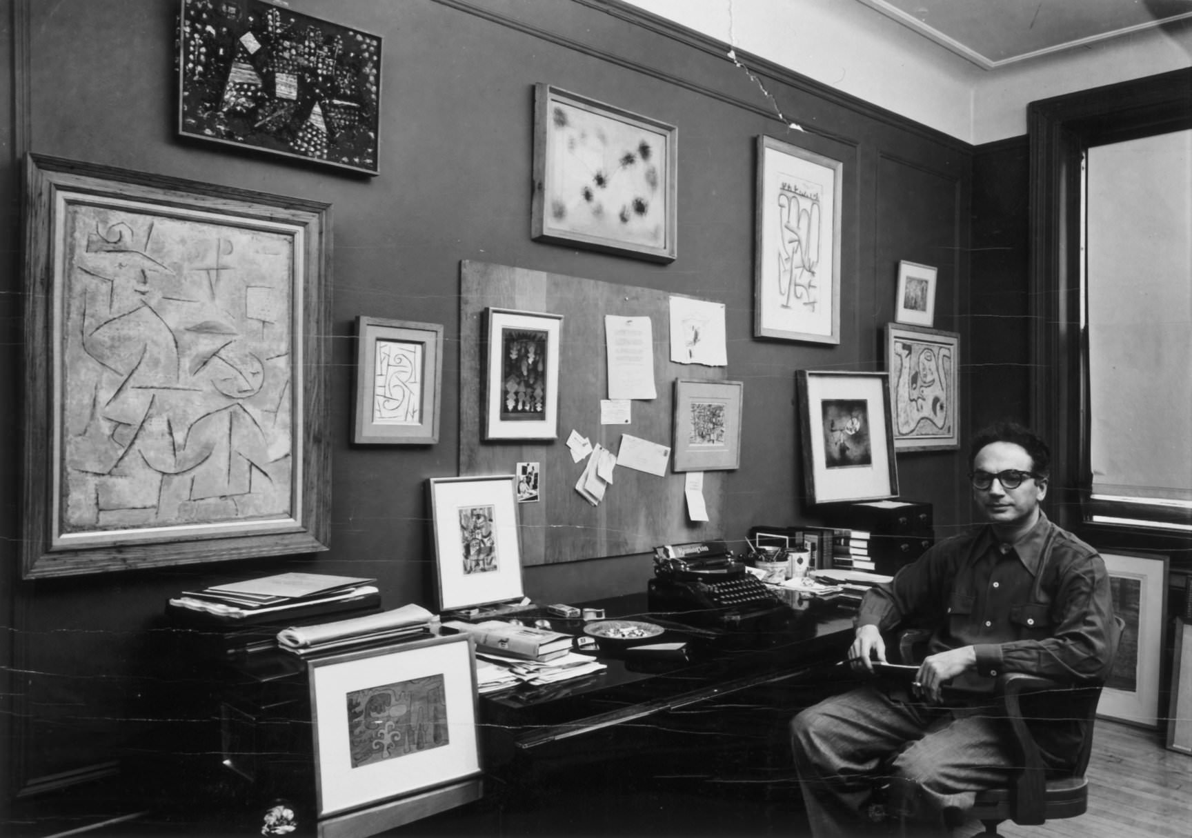 fig. 17 Clifford Odets at his desk with a selection of his Paul Klee collection, 1951, Photograph by Aaron Siskind, Courtesy of Michael Rosenfeld Gallery LLC, New York, NY, © Michael Rosenfeld Gallery LLC, New York, NY