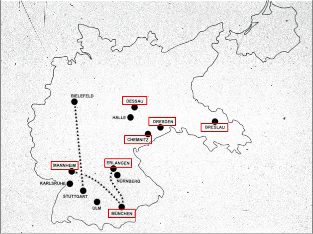 Abb. 2  Karte des Deutschen Reiches mit den Städten der »Schreckenskammern« (mit Markierungen der Orte, an denen Klee vertreten war)