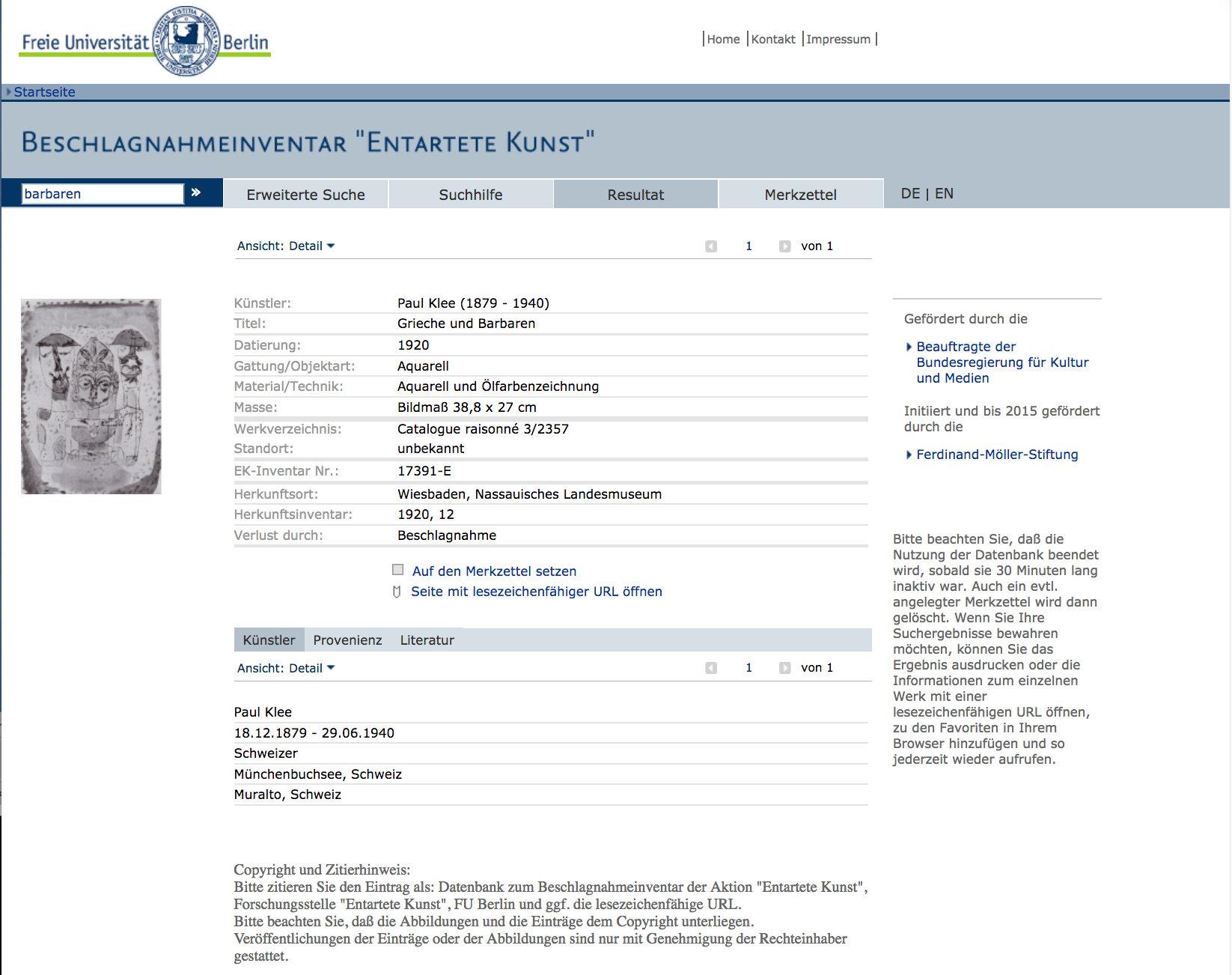 Abb. 26  Gesamtverzeichnis der 1937/38 in deutschen Museen beschlagnahmten Werke»entarteter Kunst« der Forschungsstelle »Entartete Kunst« des Kunsthistorischen Instituts der Freien Universität Berlin (Screenshot, Zugriff: 13.10.2017)  http://www.geschkult.fu-berlin.de/e/db_entart_kunst/datenbank/index.html