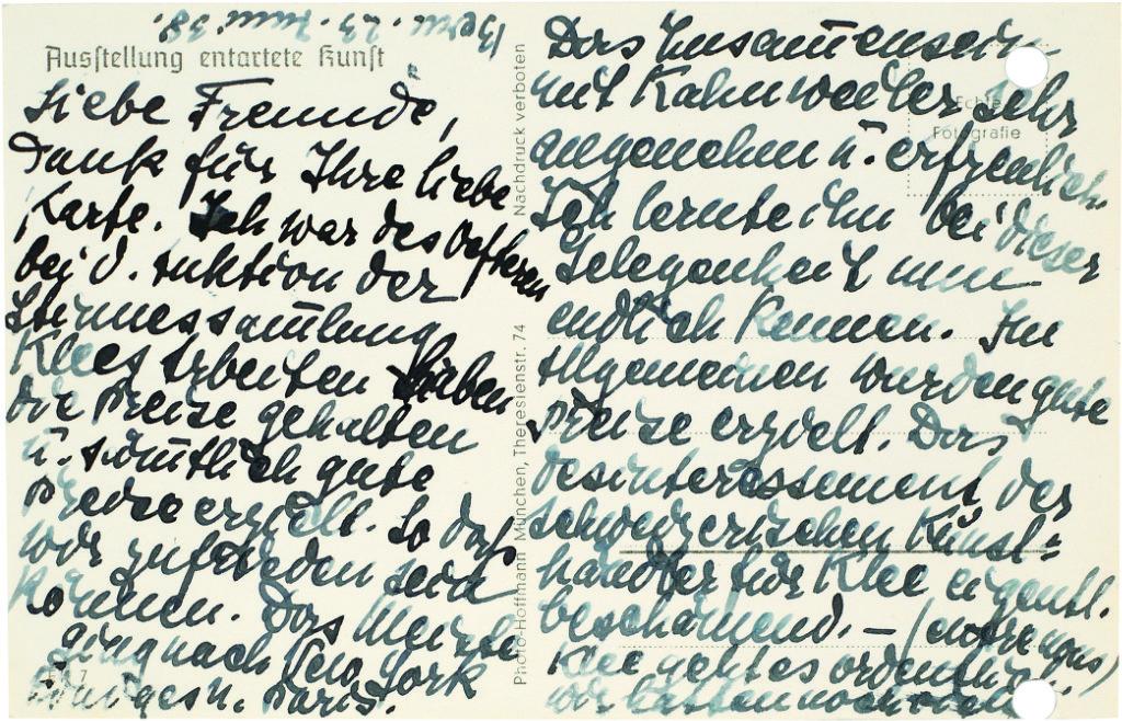 Abb. 15A u. 15B  Postkarte zur Ausstellung »Entartete Kunst« mit dem Aquarell  Die Zwitscher-Maschine  1922, 47, (recto, verso) von Lily Klee, Bern an Hermann und Margrit Rupf, 23.6.1938, Kunstmuseum Bern, Hermann und Margrit Rupf Stiftung, Archiv  © Rupf-Stiftung, Bern