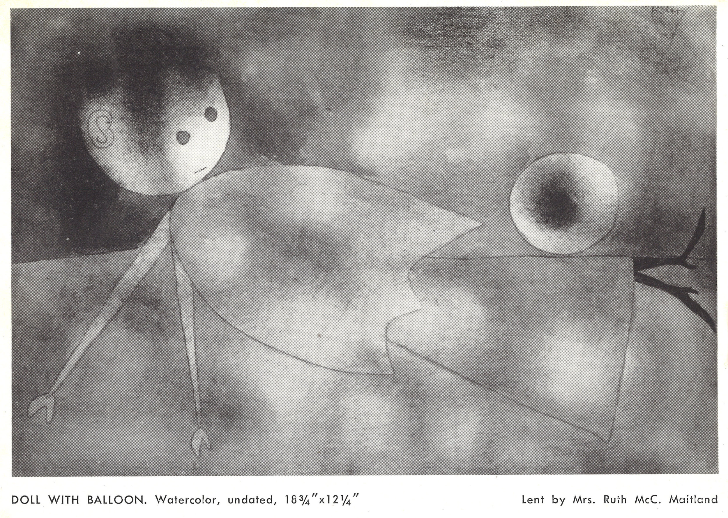 Abb. 1 Paul Klee,  Ball und Puppe , 1934, 145 (R5), Aquarell= und Ölfarben Ingres d'arches; Blatt mehrfarbig, Illustration in: Klee. 30 Years of Paintings, Water Colors, Drawings and Lithographs - and in a Klee-like-mood 2000 Years of Coptic, Persian, Chinese, European and Peruvian Textiles. The Modern Institute of Art, Beverly Hills, 3.9.-6.10.1948,Nr. 69.  © Zentrum Paul Klee, Bern, Archiv