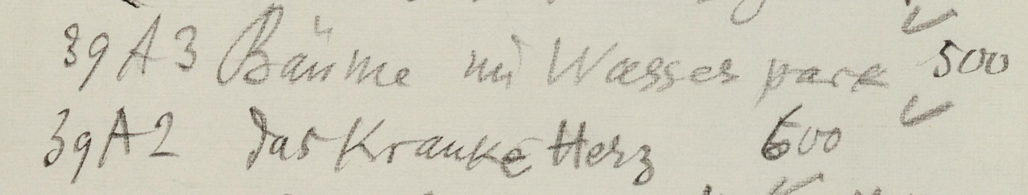 Abb. 3  Werkliste von Paul Klee: X. Sendung von Kahnweiler an Nierendorf, [17.11.1939], Zentrum Paul Klee, Bern, Schenkung Familie Klee  © Zentrum Paul Klee, Bern, Archiv
