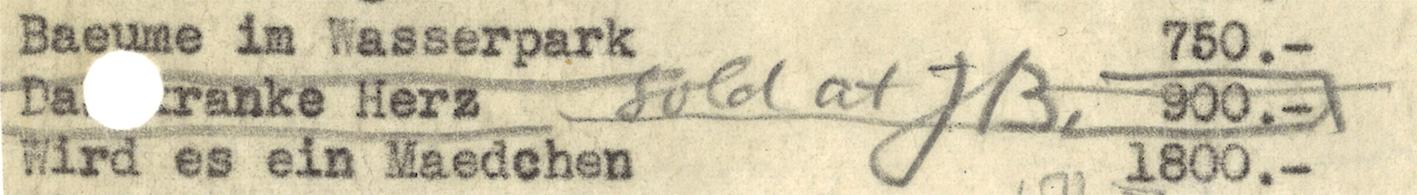 Abb. 5 Liste X. Sendung von Klees Werke, 17. November 1939, Karl Nierendorf, New York Archiv Bürgi im Zentrum Paul Klee, Bern, Schenkung Familie Bürgi © Zentrum Paul Klee, Bern, Archiv