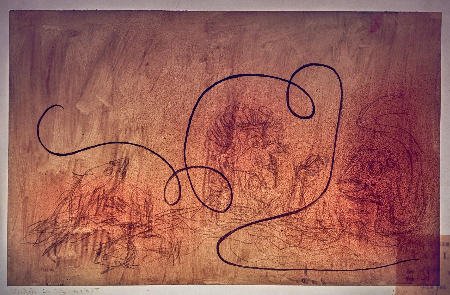 Paul Klee  Ohne Titel  (Durchlichtaufnahme von  Träger für ein Schild,  1934, 72, seitenverkehrt) ©Zentrum Paul Klee, Bildarchiv