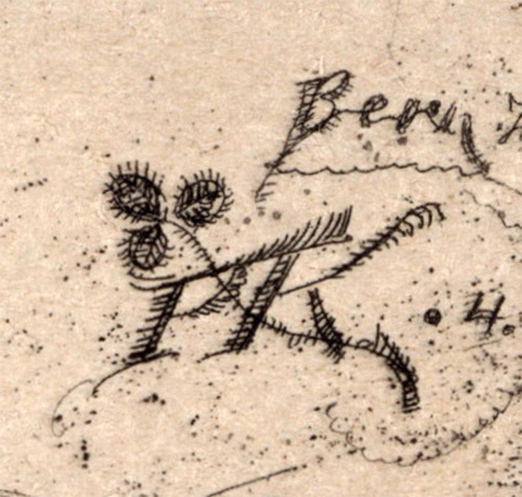 Paul Klee,  Komiker , 1904, Radierung  Zentrum Paul Klee Bern ©ZPK Bildarchiv  Detail: Monogramm PK mit einem Kleeblatt