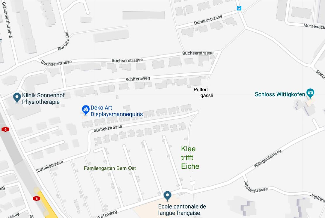 Standort der Klee Eiche (Map) Fortsetzung Puffertgässli / Surbekstrasse