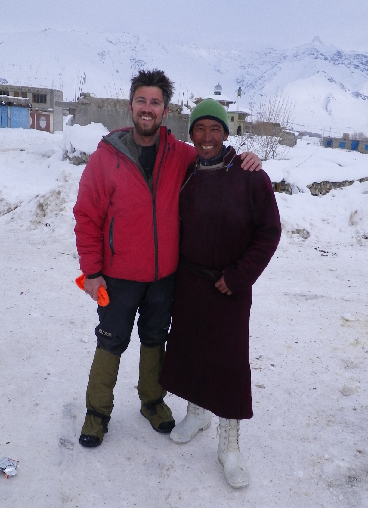 Jonathan Mingle and Urgain Dorjay in Padum, Zanskar, India. (Photo credit: Gregg Smith)