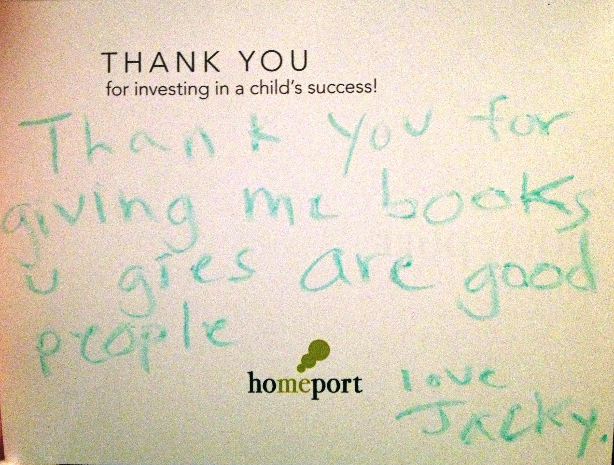 Thank you letter from Homeport resident in 2013
