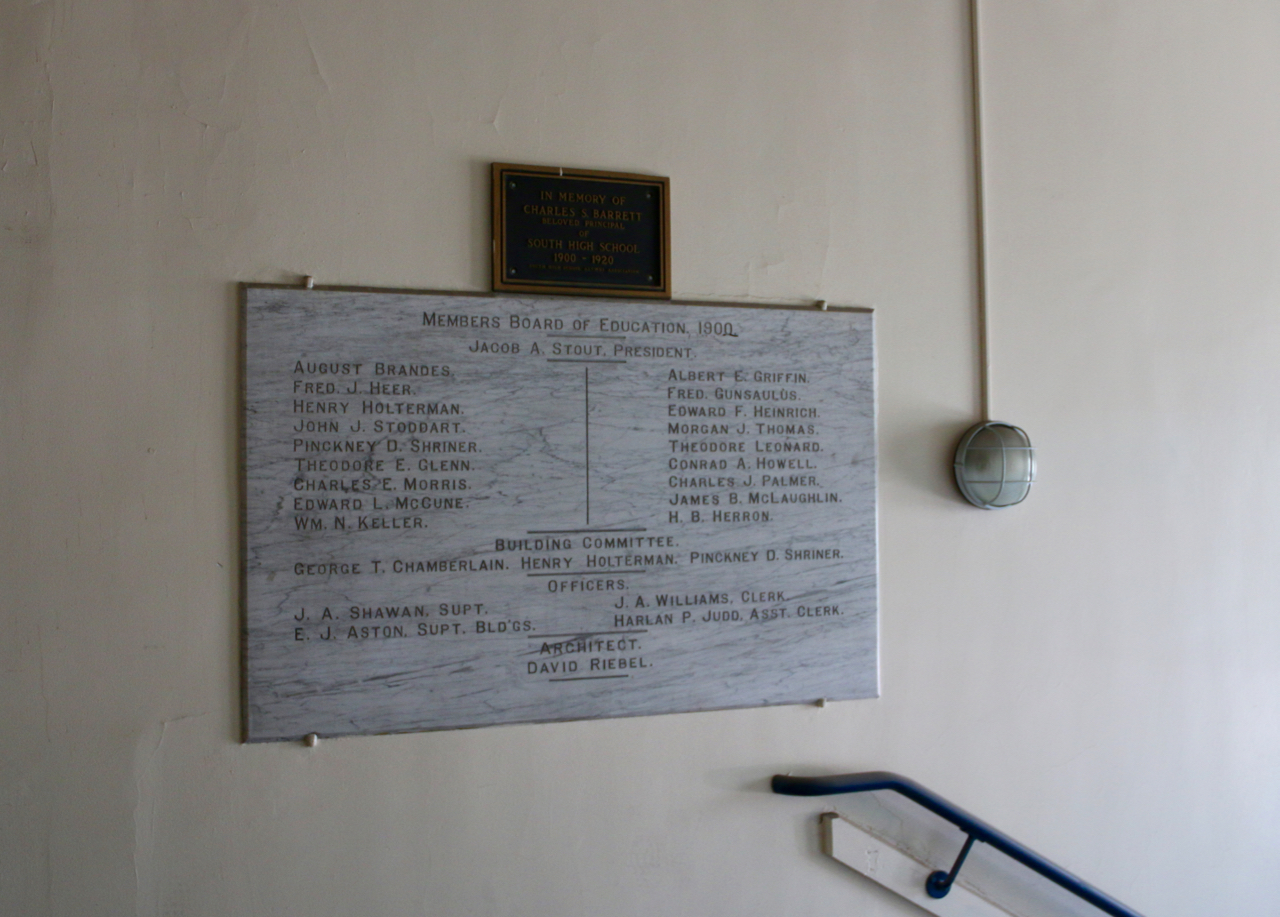 The plaque commemorating the school's history remains