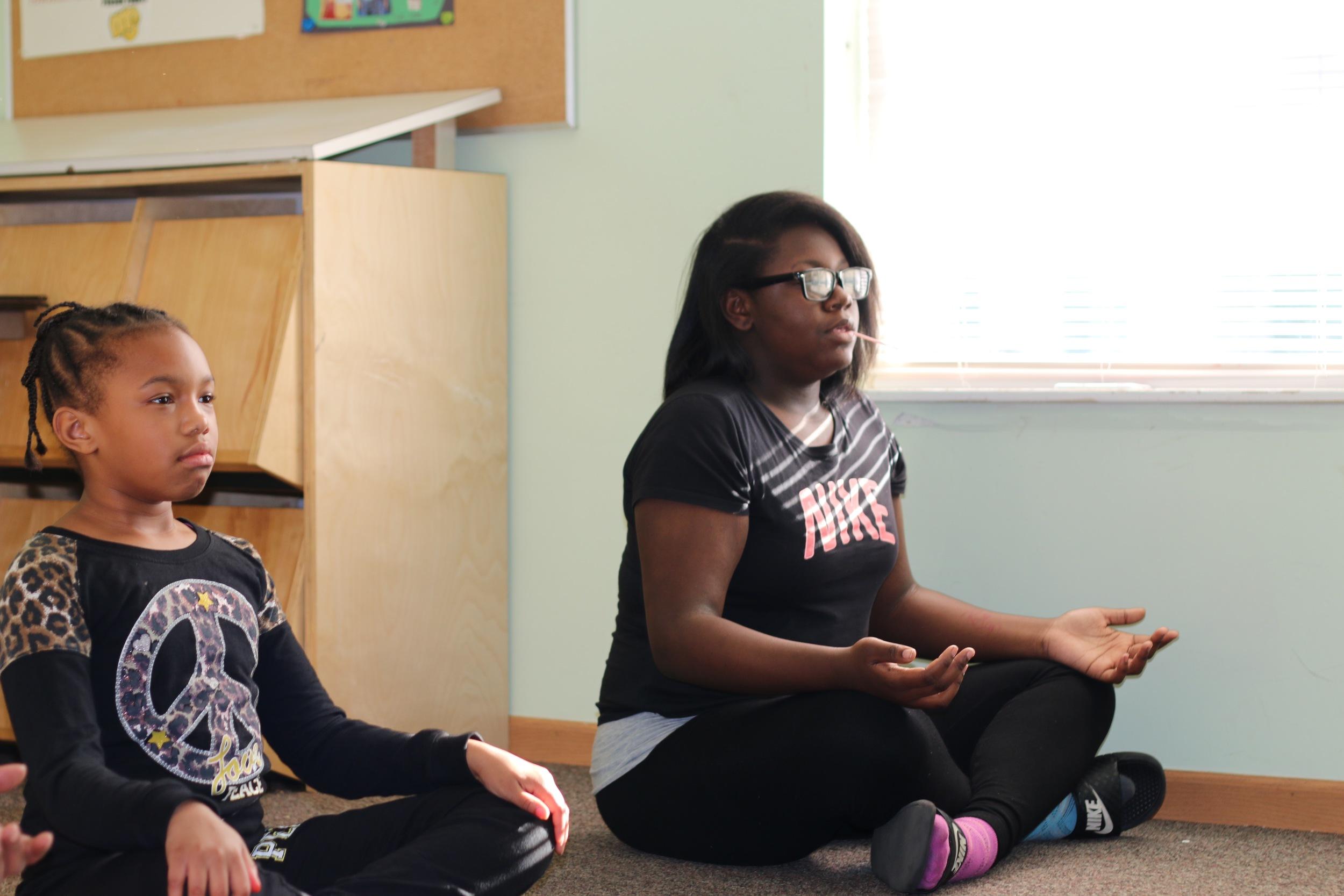 Seated meditation preceding breathing exercises