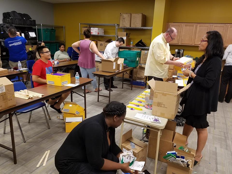 Meanwhile, JPMorgan Chase employees came to Homeport's offices in July to help prepare more than 300 backpacks for distribution at Homeport's Back to School Rallies in August.