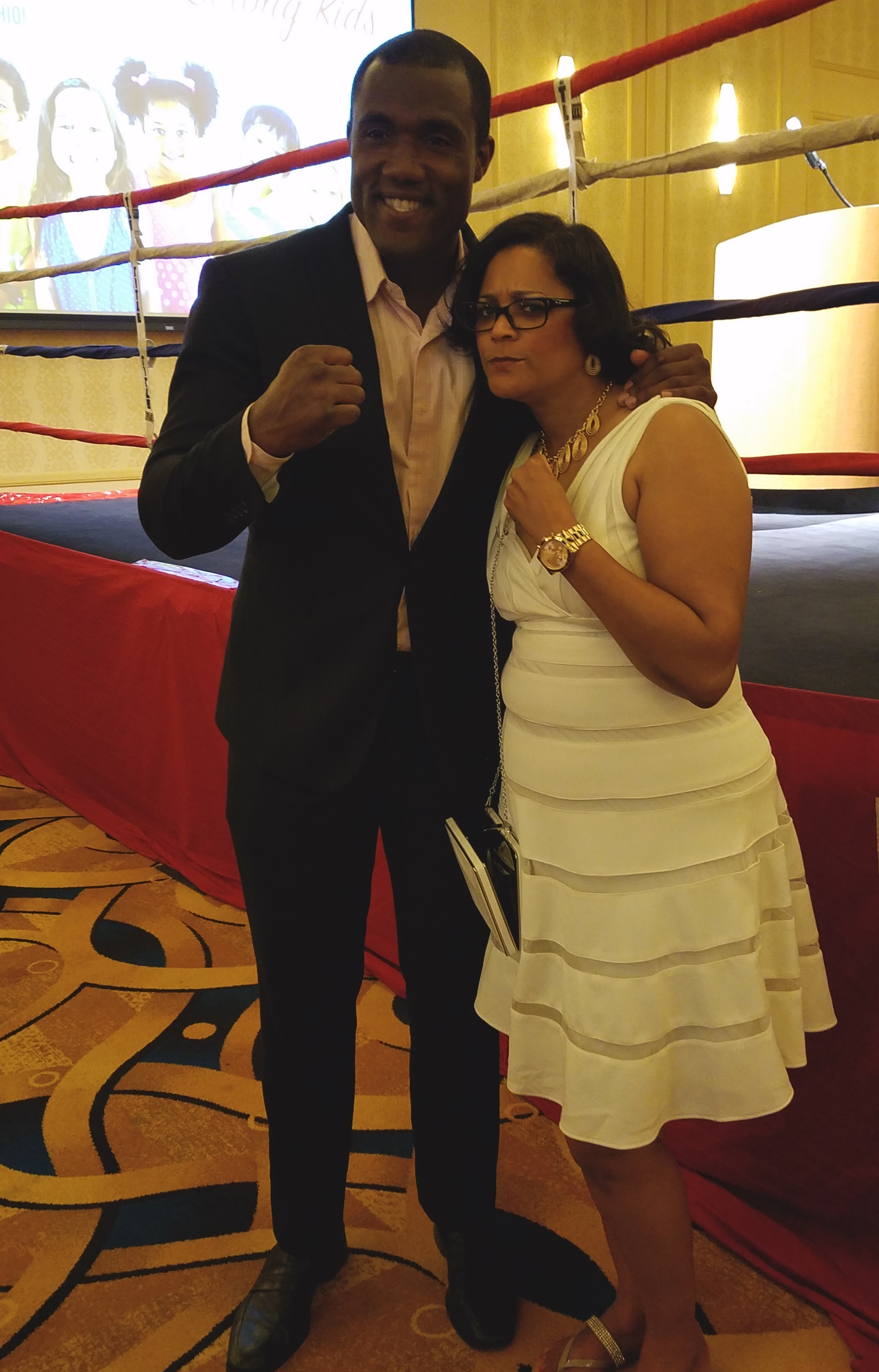 """Laverne mugs with George Foreman III, featured speaker at Homeport's """"Strong Kids in Safe Neighborhoods"""" fund-raiser in April."""