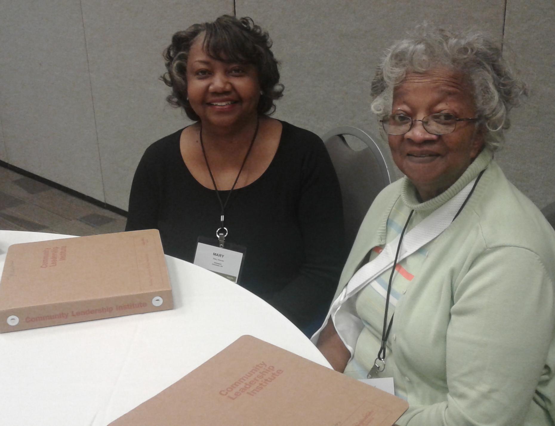 Mary Warren, left, and Mary Richards at the NeighborWorks America Community Leadership Institute program Oct. 20-23 in Columbus. Said Mary Warren: 'I wanted to try to find things to do to get our residents out of our apartments, to get them involved.'