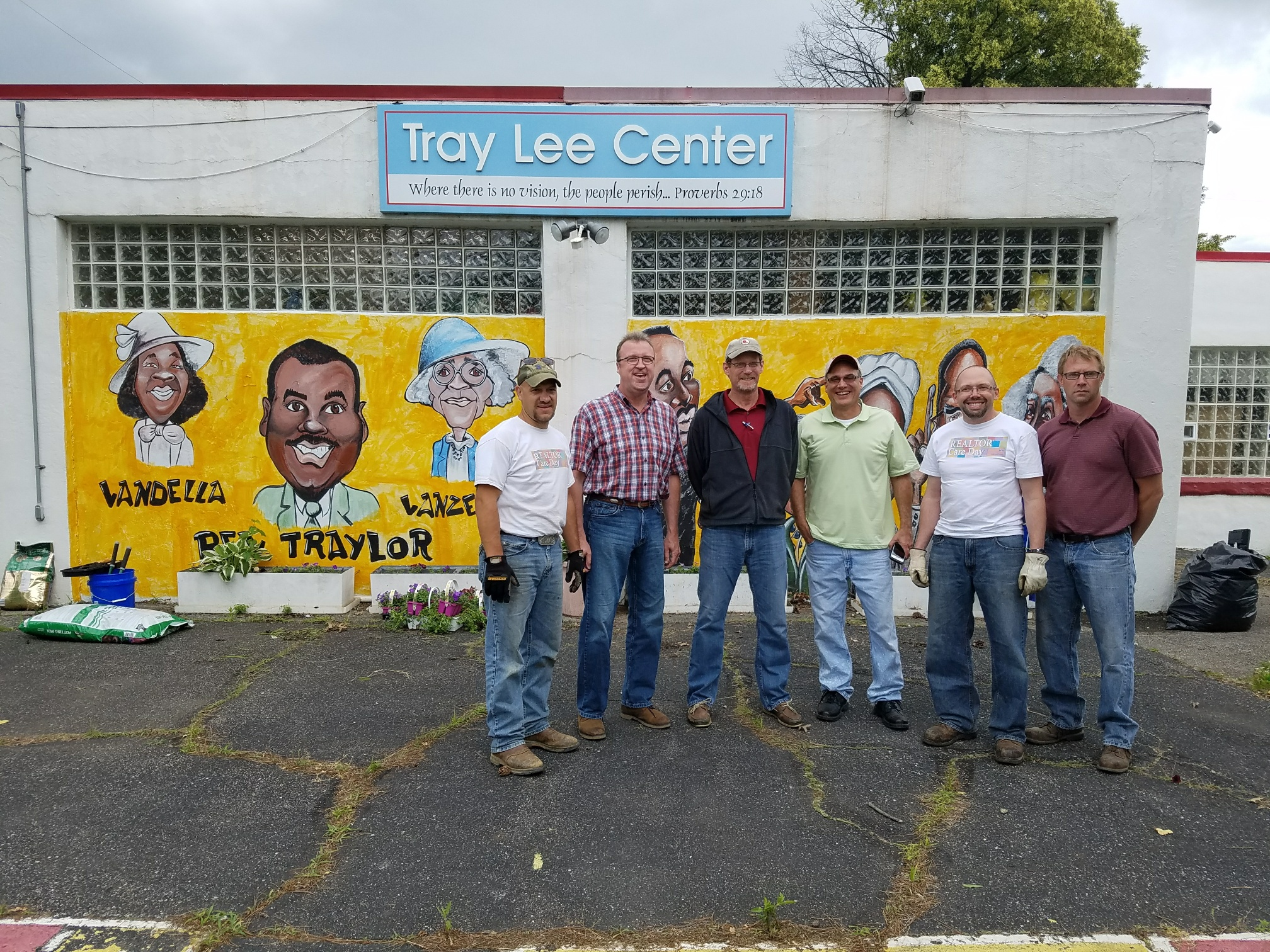 CCIIR members power washed the rear walls of the Tray Lee Center at American Addition. They also cleared the lot of nuisance trees.