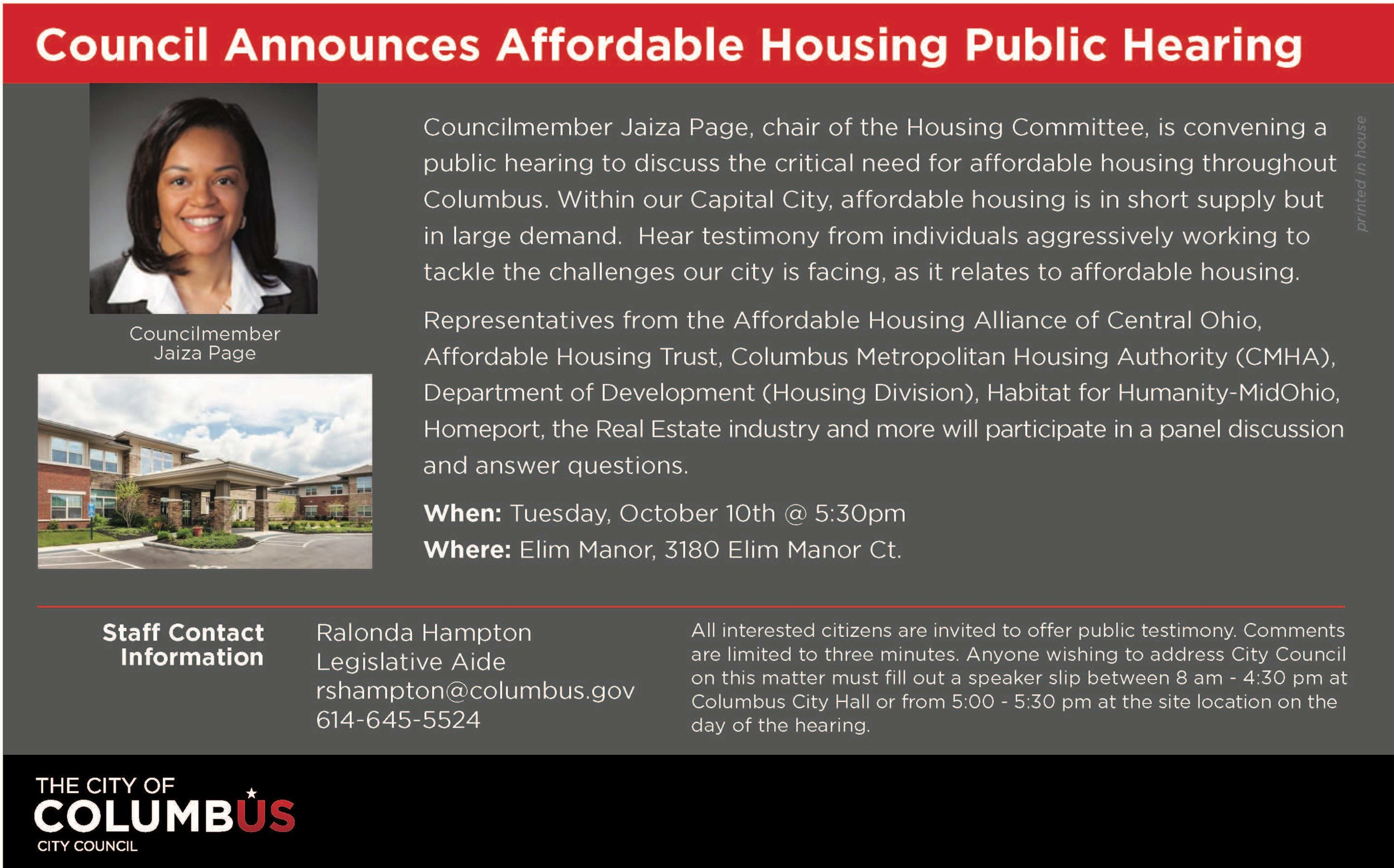 Invitation To Hearing Being Chaired by Columbus City Council Member Jaiza Page