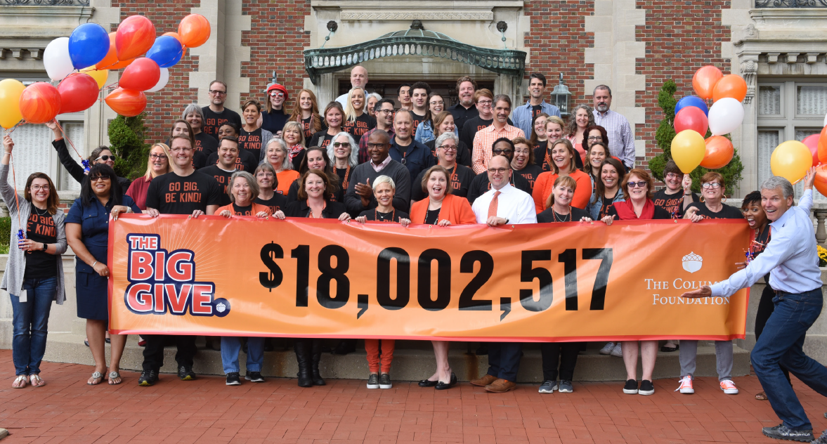Columbus Foundation employees celebrate record giving to pledge initiative.