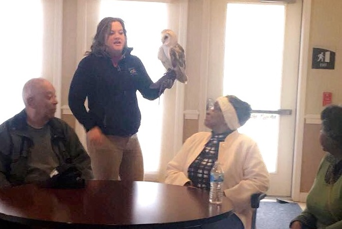 Elim residents learned about an owl.