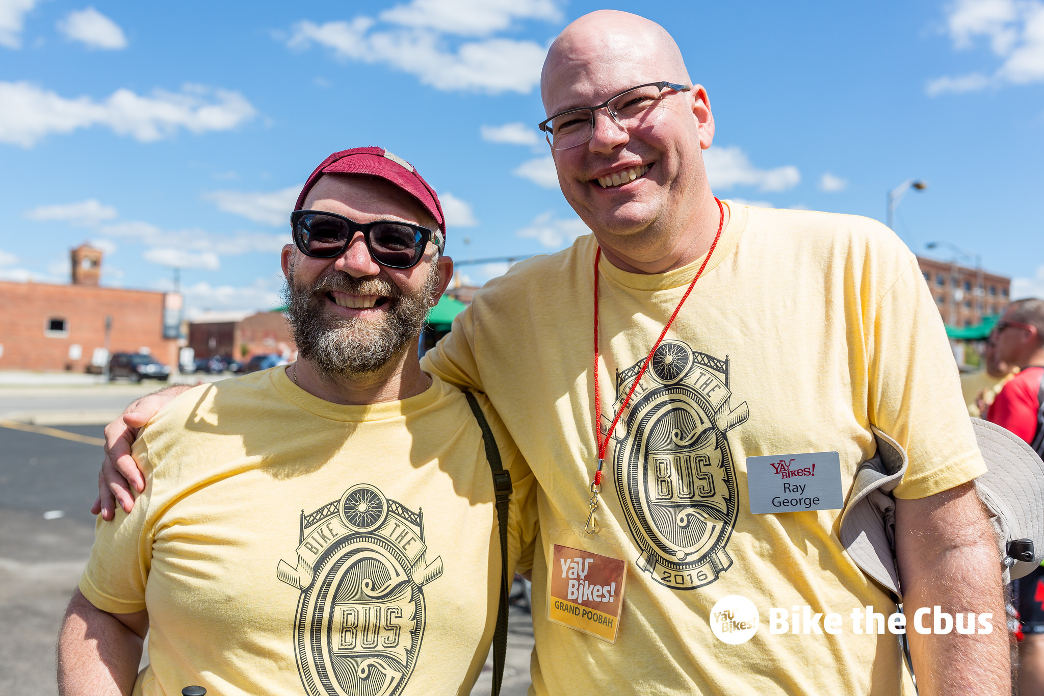 Nik Olah, volunteer, left, joins Ray in the fun at the 2016 Bike the Cbus hosted at  Elevator Brewing . In addition to being the founder, Ray's official title was Grand Poobah.