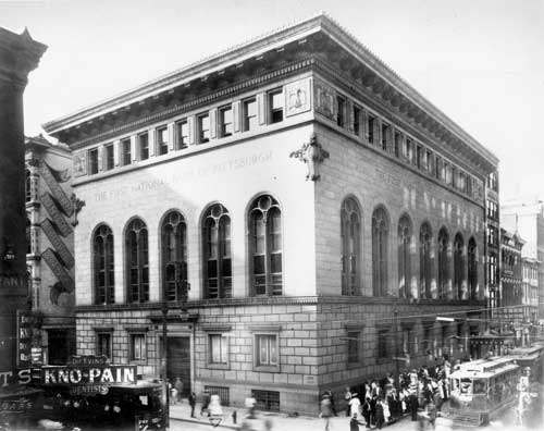 Pictured is the first headquarters of First National Bank (circa 1909), which was the predecessor bank of Pittsburgh National Bank, the largest subsidiary of Pittsburgh National Corporation (PNC).