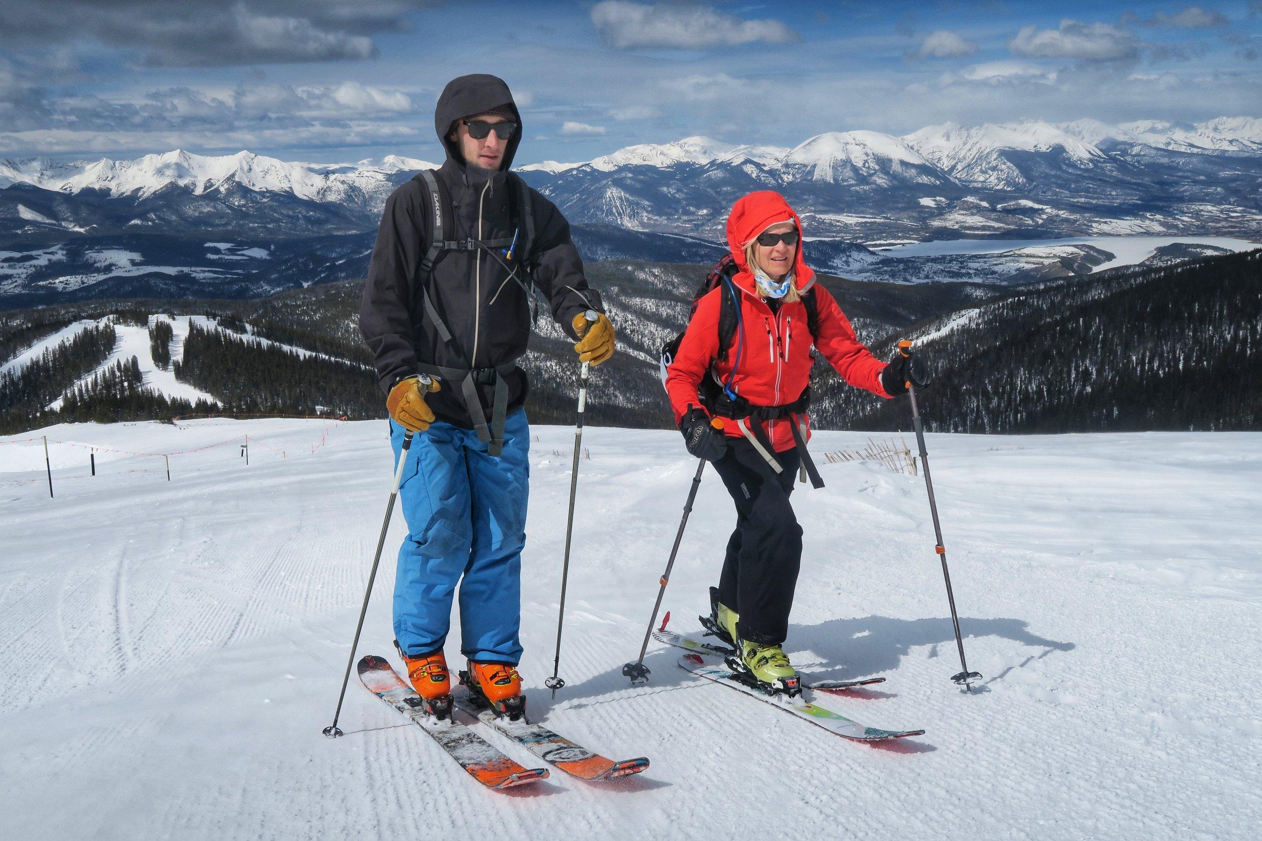 Shelee and son Matt b  ackcountry skiing in Colorado.