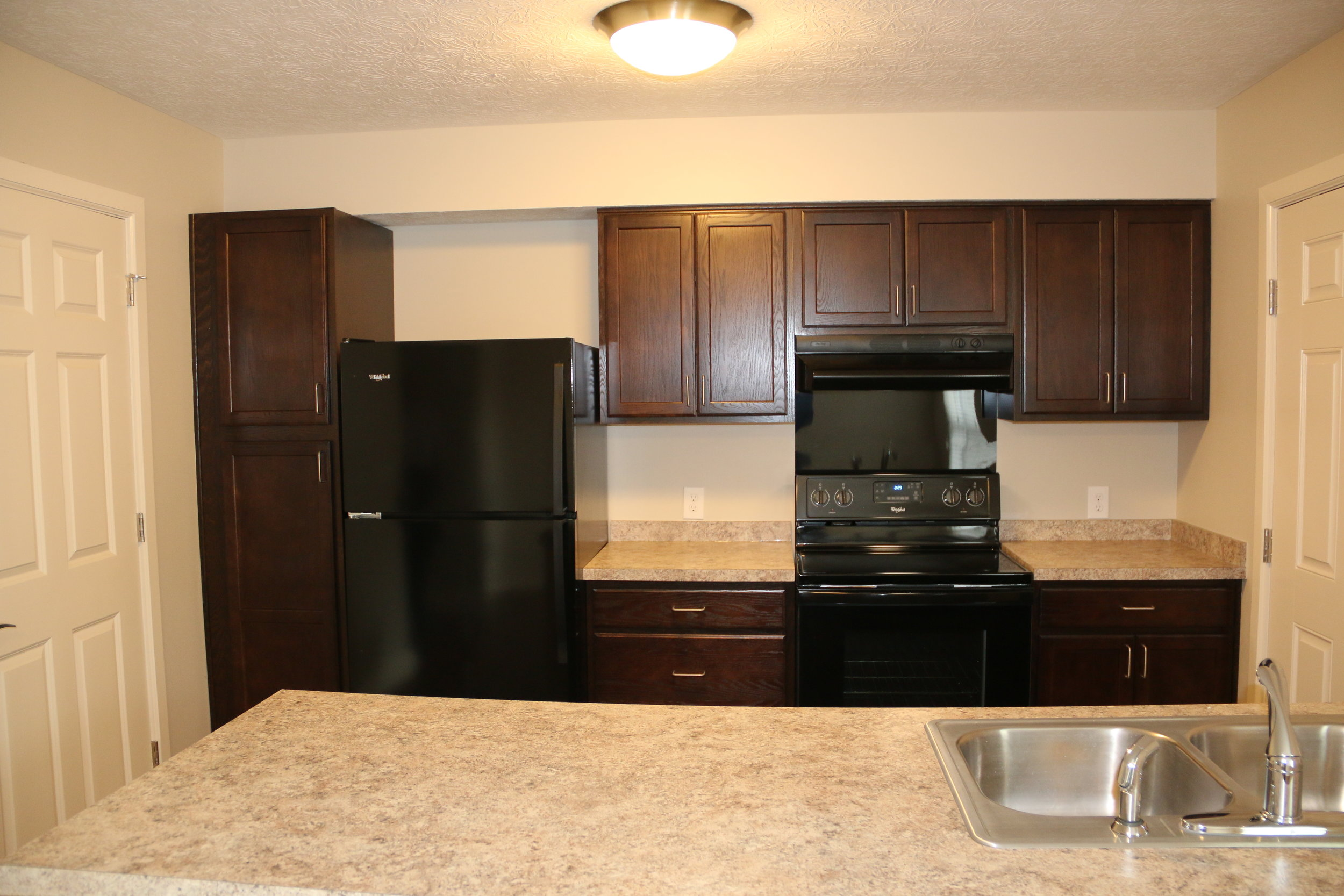 Energy Star rated refrigerator and stove/oven in new Milo-Grogan home.