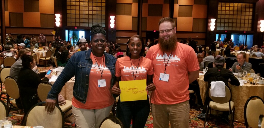 Lakeisha Terry, center, was one of three Homeport residents to attend the 2018 NeighborWorks America Community Leadership Institute. Joining her in photo is Lawrence Furst II, manager of Service Coordination at Homeport, and CPO Management's Zipporah Hodge, property manager at Homeport's Marsh Run community.