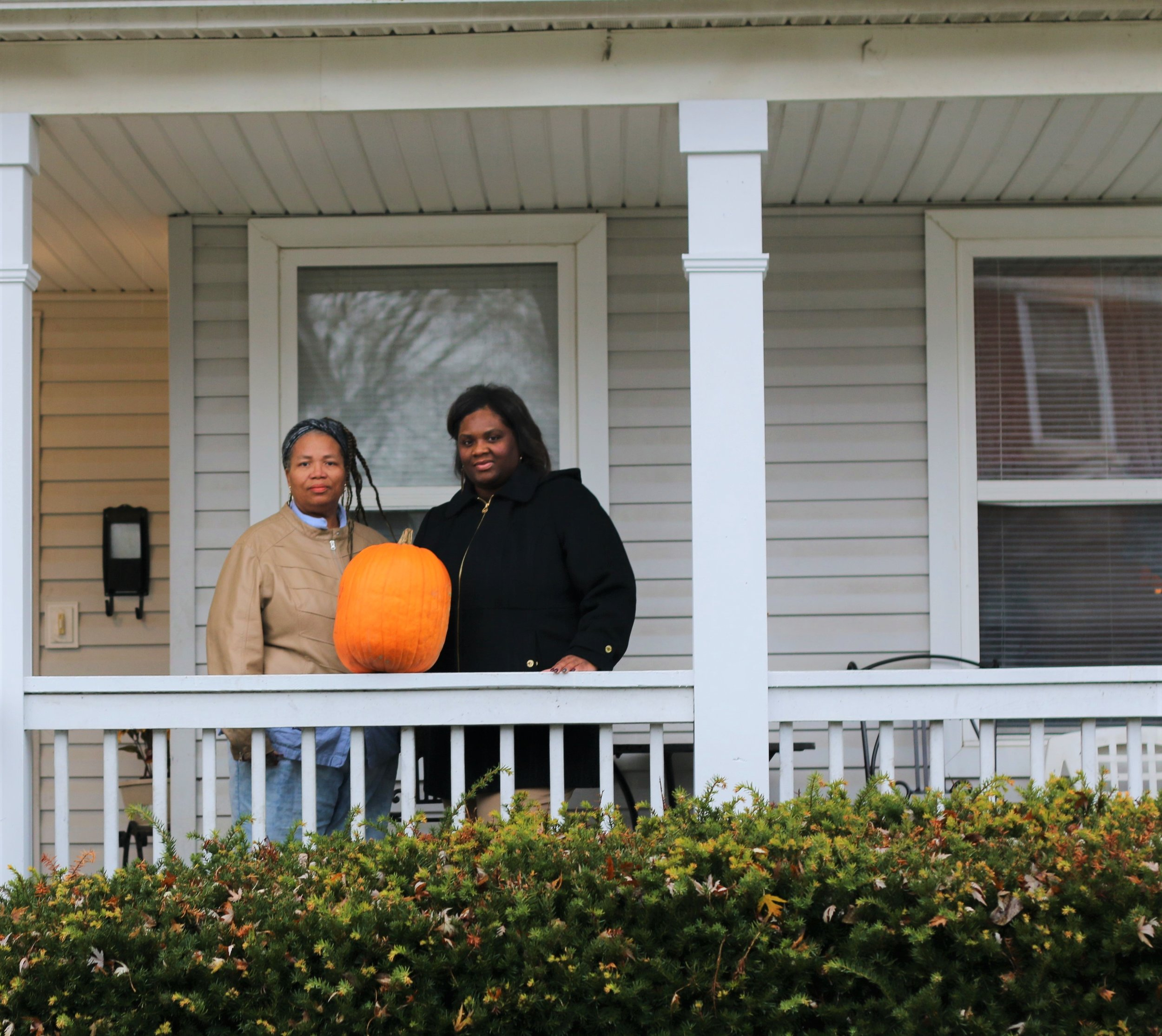 Essie and Kanica James on Essie's front porch on Ohio Avenue.