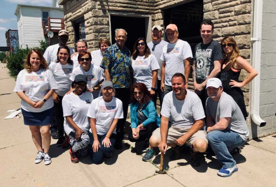 Volunteers worked on clean-up in Milo-Grogan