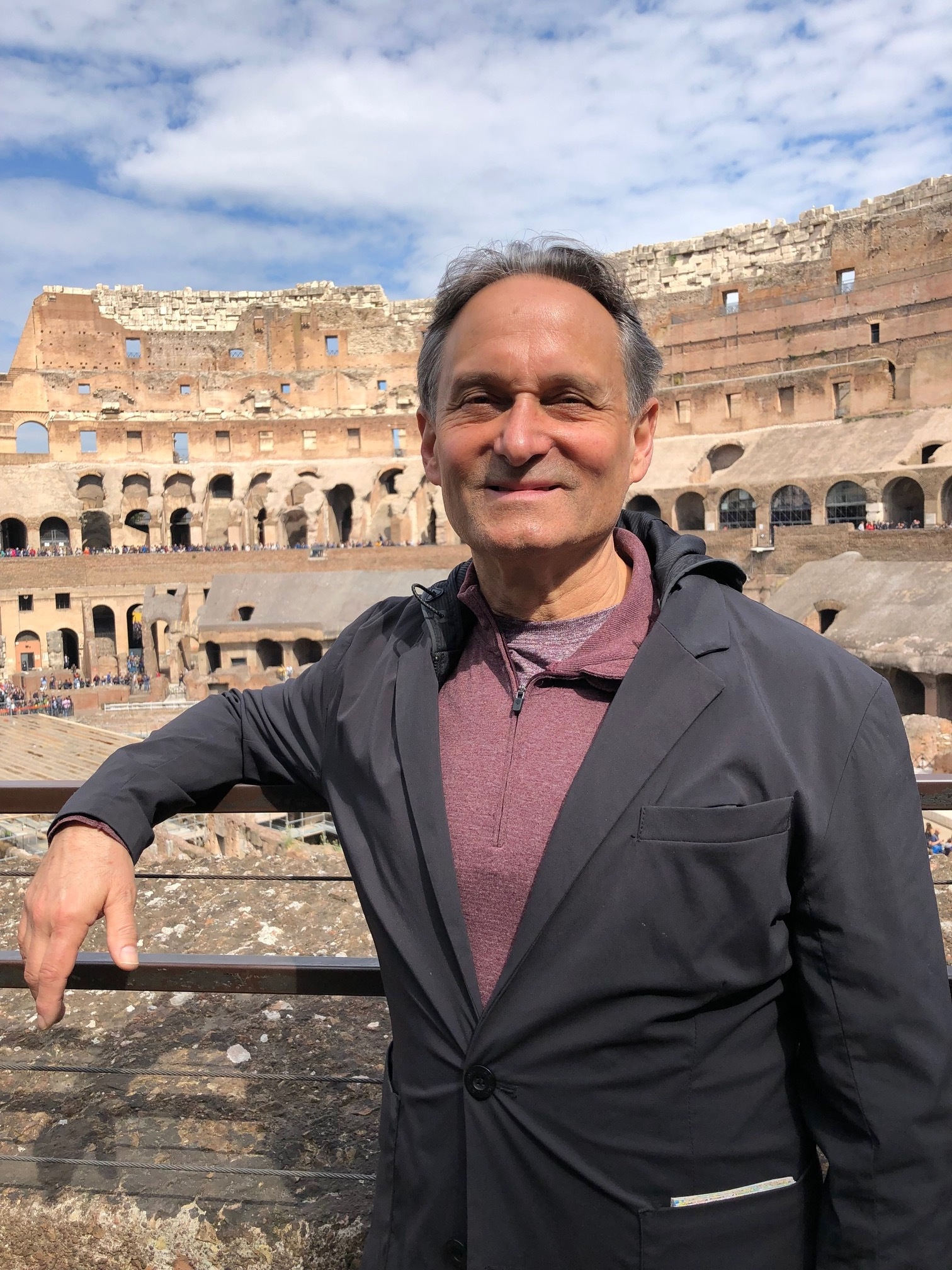 Roy and the ancient Colosseum in Rome.